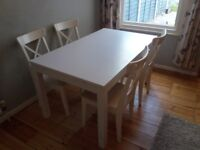 Ikea Ingatorp table and 4 Ingolf chair dining set