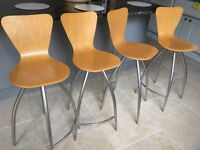 4 kitchen breakfast bar stools swivelling seat