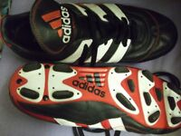 RED BLACK AND WHITE ADIDAS FOOTBALL BOOTS