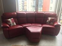 RED LEATHER DFS CORNER SOFA WITH FOOTSTOOL AND CUSHIONS