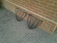 Wrought iron hay rack planters