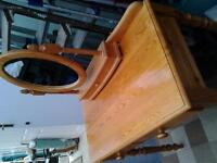 pinewood dressing table,2drawers, oval mirror with drawer.