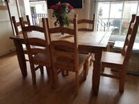Pine dining table with free chairs