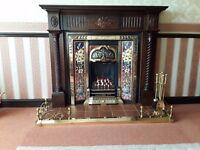 Gas Fire c/w Brass Insert & Wood surround & Hearth & Brass Fender & Companion Set