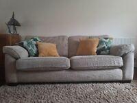 3-seater beige fabric sofa