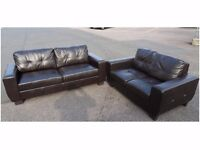 ARGOS TWO & THREE SEATER DARK BROWN LEATHER SOFA SUITE (I CAN DELIVER TODAY)