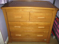 mamas and papas solid light oak cotbed,wardrobe and dresser with changing facility