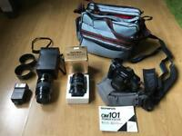 Olympus OM-101 Power Focus SLR (with additional lenses & accessory bags)