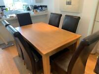 Oak Dining Table & Chairs Set