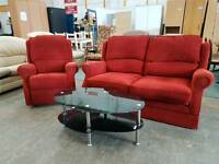 Highback red fabric 2 seater and reclining chair