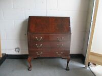 REPRODUCTION MAHOGANY THREE DRAWER BUREAU DESK FREE DELIVERY