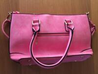 New pink hand bag / shoulder bag with black trim