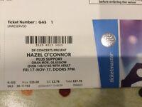 5 x Hazel O'Connor tickets, Oran Mor, Glasgow, 17th November