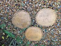 Garden paving slabs tree stump style x3