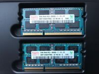 Hynix 2 x 2GB 2Rx8 PC3-8500S-7-10-F2 memory cards