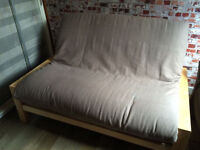 Lovely solid beech bed frame, futon by Futon company with clean 3 panel mattress, vgc
