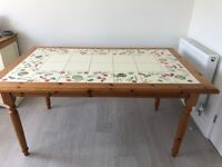 Solid pine dining table with tiled top