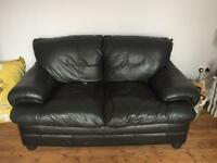 SOLD- SOLD FREE! Black Leather Chair and Two seater Sofa