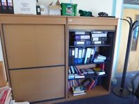 Cupboard (Tambour) with adjustable shelves (two available)