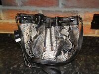 Next black and grey snakeskin handbag