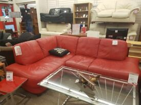 Red leather corner sofa