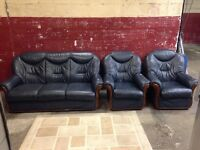 Blue 3 + 1 +1 Seat Leather Sofa