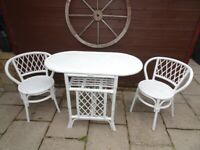 Bamboo garden or conservatory table & chairs set..NEWLY PAINTED