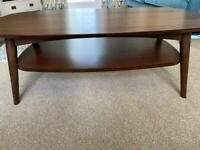 Walnut coffee table with shelf
