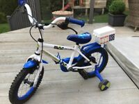 Apollo Kids Police Bike complete with stabilisers, perfect 1st bike for child.