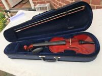 VIOLIN 7/8 SIZE WITH CASE BOW &CHIN SUPPORT