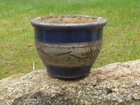 Blue Glazed Ceramic Garden Pot Garden Planter with Decrative Band 22.5cm Dia
