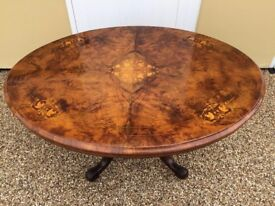 Victorian Burr Walnut Inlaid Tilting Loo Table