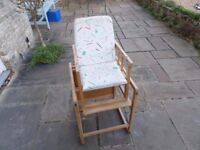 Vintage and retro east european beech childs high chair and desk