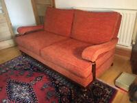 REDUCED 3 seater sofa - re-upholstered retro mahogany and orange