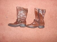 Girl's Leather winter boots, from Barratts, size 11, zip fastening