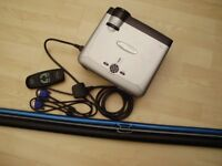 Optoma projector with remote control all cables/wires and wall screen in very good condition.