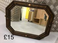 Vintage 1940s oak mirror