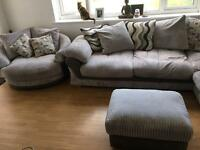 Large grey corner sofa with large armchair