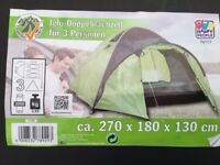 3 person Dome Tent camping, festival, porch for boot storage etc Brand new unused. 270cmx180cmx130cm