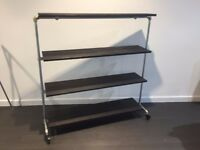Industrial Style Shop Fitting Retail Display Rail Stand Fittings on Wheels Tilting Shelves Shelving