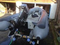 Avon W525 inflatable workboat / RIB with 40HP Mariner and aluminium Gullwing roller trailer