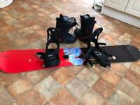 K2 snowboard, boots and bindings