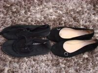 Size 4 black pumps & black suede effect slip ons. £1. Torquay.