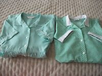 School Uniform - 2 x Green and White Check Dresses