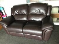 Reids leather couch, 3 seater, 2 seater and single chair (all recliner)