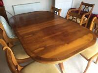 8 Seater Yew Dining Table & Wall Cabinet Set