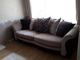 Brown/cream 4 seater sofa