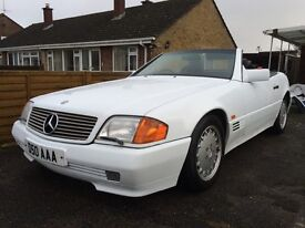 mercedes sl300 1990 convertable with hard top classic white inc private plate {D50 AAA}