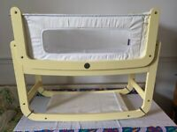 SnuzPod 2 Bedside Crib Yellow with mattress and protector