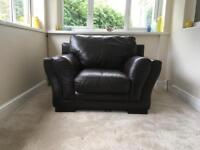 Large 3 Seater settee and a chair in brown